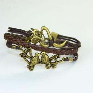 Fox, Birds leather charm wrap brace..