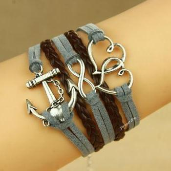 Heart to Heart Anchor Infinity charm wrap bracelet