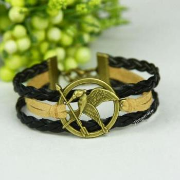 Hunger game bracelet Mockingjay charm wrap bracelet