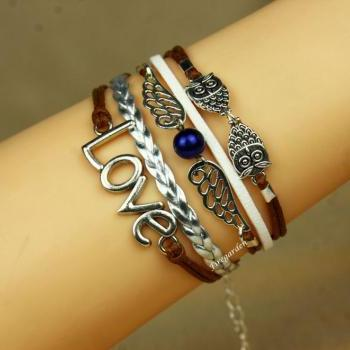Owls, Angel Wings and Love charm wrap bracelet