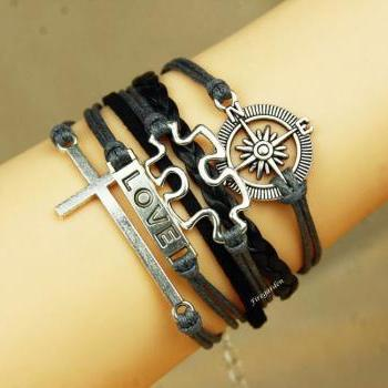 Cross, Compass, Love and Puzzle bracelet Autism awareness charm wrap bracelet
