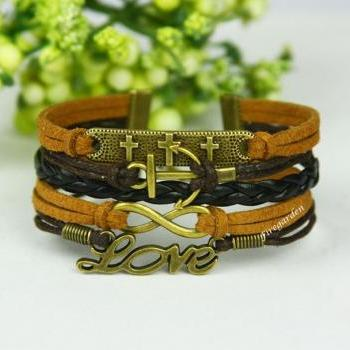Cross,anchor, Love and Infinity bracelet Infinity Love charm wrap bracelet