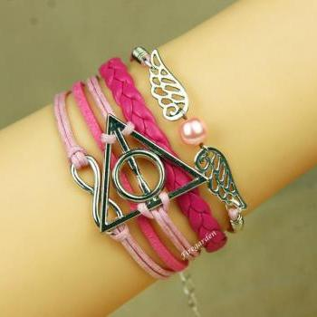 Deathly Hollow bracelet, Angel Wings and infinity charm wrap bracelet